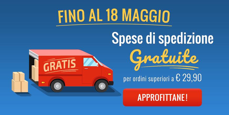 Fino al 18 Maggio: spese di spedizione gratuite per ordini superiori a €29