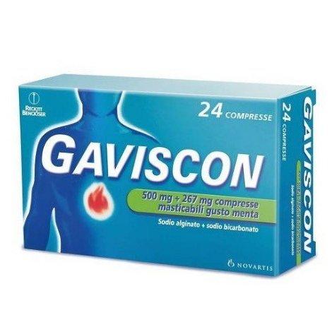 Gaviscon 24 Compresse Masticabili 500 Mg + 267 Mg Menta