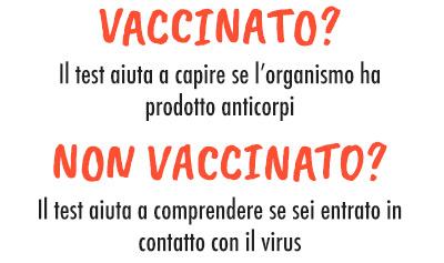 Vccinato? Il test aiuta a capire se l'organismo ha prodotto anticorpi. Non vaccinato? Il test aiuta a comprendere se sei entrato in contatto con il virus